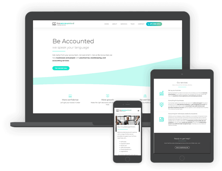 Be Accounted Website Mockup